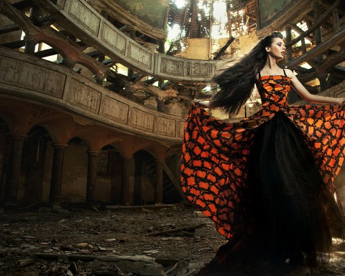 An actress in old, abandon theater